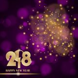 Golden lights abstract on purple ambient blurred background. New Year 2018 concept. Luxury design. Vector illustration Stock Photos