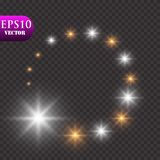 Golden Lights Background. Christmas Lights Concept. Vector illustration. Eps 10 Stock Photography