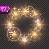 Golden Lights Background. Christmas Lights Concept. Vector illustration. Eps 10 Royalty Free Stock Photos