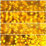 Golden lights banner set Royalty Free Stock Photo