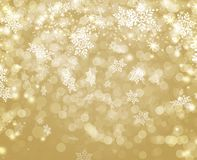 Golden lights decorated with white bokeh snowflake ans stars Christmas. Background Royalty Free Stock Photo