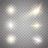 Golden lights sparkles collection. Vector illustration of glowing lens flares, flashes and sparks. Golden lights sparkles collection. Glowing lens flares Royalty Free Stock Photos