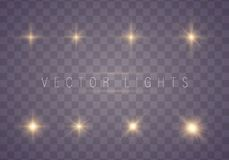 Set of glowing stars. vector illustration