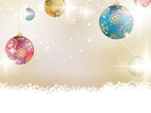 Golden Lights and Stars Christmas Background. Stock Photo
