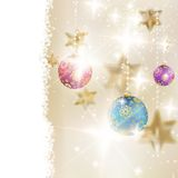 Golden Lights and Stars Christmas Background. stock illustration