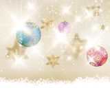 Golden Lights and Stars Christmas Background. royalty free illustration