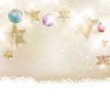 Golden Lights and Stars Christmas Background. Royalty Free Stock Photography