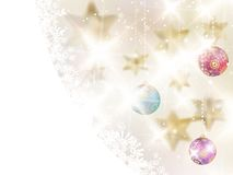 Golden Lights and Stars Christmas Background. Stock Photos
