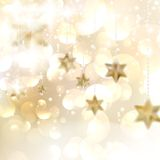 Golden Lights and Stars Christmas Background. Royalty Free Stock Photo