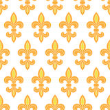 Golden lily seamless pattern background. Vector golden lily seamless pattern background Stock Image