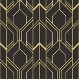 Golden lined shape. Abstract art deco seamless luxury background. Vector modern geometric tiles pattern. golden lined shape. Abstract art deco seamless luxury stock illustration