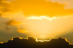 Golden lining cloud Royalty Free Stock Photography