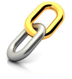 Golden link. Abstract 3d illustration of single chain link with golden element Stock Images