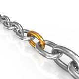 Golden link in chain Stock Photography
