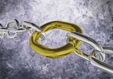 Golden Link. Chain with golden link from close range on a grunge background. 3D rendering Royalty Free Stock Photography
