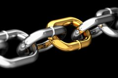 Golden link in a chain Royalty Free Stock Photography