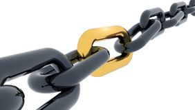 Golden link chain 3d rendering. Golden link black chain - 3d rendering vector illustration