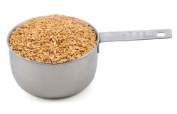 Golden linseed in an American cup measure Royalty Free Stock Photo