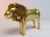 Golden Lion. Golden 3D animal (lion) inside a stage with high render quality to be used as a logo, medal, symbol, shape, emblem, icon, business, geometric, label Royalty Free Stock Image