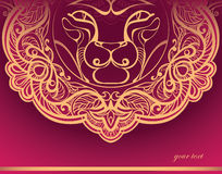 Golden Lion. Decorated mane Royalty Free Stock Photos