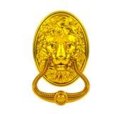 Golden lion door knocker Royalty Free Stock Images
