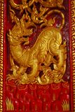 Golden lion in the fairly tale. Art of golden lion on the wall Royalty Free Stock Photo