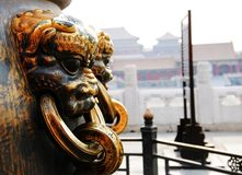 Golden Lion at the Forbidden City Royalty Free Stock Photo