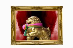 Golden lion in the frame Royalty Free Stock Images