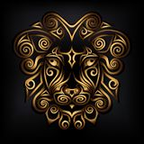 Golden lion head isolated on black background. Stylized Maori face tattoo. Golden lion mask. Vector illustration Stock Photos