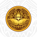 Golden lion head label Royalty Free Stock Image
