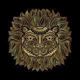 Golden Lion head. Tribal pattern. Image of a lion head on a black background. Can be used for logo, tattoo, horoscopes. T-shirt graphic, etc. Vector Royalty Free Stock Photos