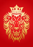 Golden lion king. Simple icon illustration of a golden lion king wear crown in red background royalty free illustration