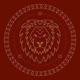 Golden lion label. Vector image of a golden lion head on red background Stock Photo