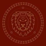 Golden lion label Stock Photo