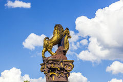 Golden lion at the parliament in Wiesbaden Royalty Free Stock Image