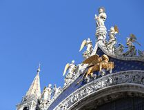 Golden Lion of Saint Mark Cathedral in Venice Stock Image
