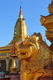 Golden lion in Shwezigon Pagoda Bagan Royalty Free Stock Image