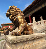 Golden lion statue Stock Photos