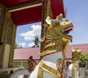 Golden lion statue. The art of thailand golden lion statue Royalty Free Stock Photography