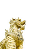 Golden lion statue on isolated background Royalty Free Stock Photography