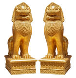 Golden lion statue Thai art style Stock Photos