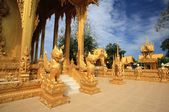 Golden Lion statue at Thai temple Royalty Free Stock Photography