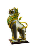 Golden lion statues. Singh statue in a temple in northern Thailand royalty free stock photos