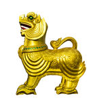 Golden lion statues. Golden lion statues on white isolate background Stock Images
