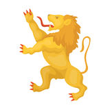 Golden lion symbol of belgium.The dark Belgian wolf. Belgium single icon in cartoon style rater,bitmap symbol stock. Web illustration Royalty Free Stock Photos