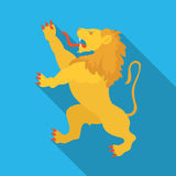Golden lion symbol of belgium.The dark Belgian wolf. Belgium single icon in flat style vector symbol stock illustration. Golden lion symbol of belgium.The dark Royalty Free Stock Photo