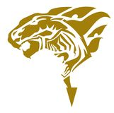Golden lion symbol with horse head inside Royalty Free Stock Photo