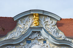 Golden lion at the top of a house in Erfurt at the fish market Royalty Free Stock Photography