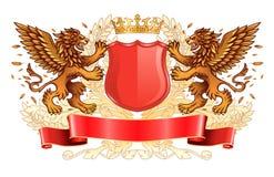 Golden Lions alati che tengono l'emblema dello schermo Immagine Stock