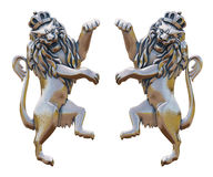 Golden Lions with the old emblem Royalty Free Stock Photos
